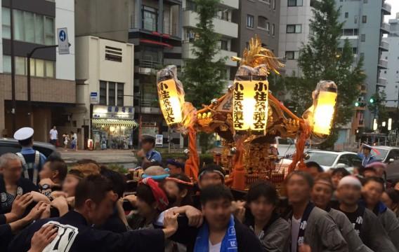 東中野氷川神社の例大祭2017~東中野4丁目の小住祭礼の神輿の巡行予定は