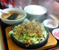 鉄板焼き+ライス+半ラーメン=鉄板麺