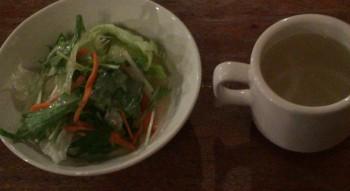 高円寺ルック商店街の喫茶店『七ツ森』のサラダとスープ