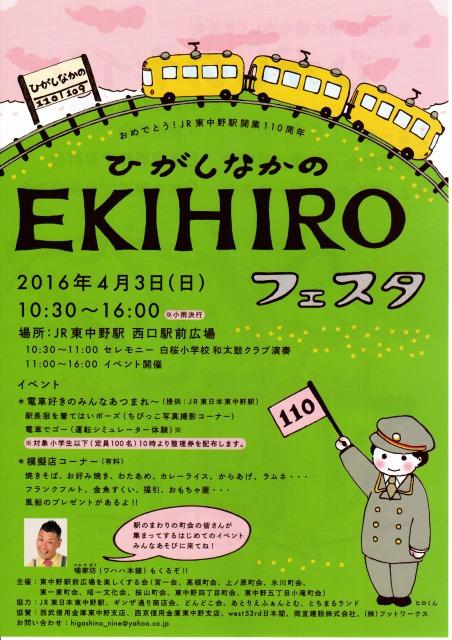 ひがしなかのEKIHIROフェスタ2016春ポスター
